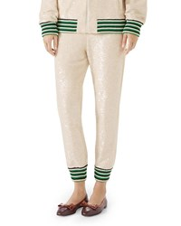 Gucci Sequin Embroidered Jersey Jogger Pants Ivory