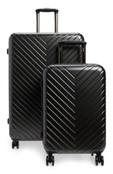 Nordstrom Chevron 29 Inch And 18 Inch Spinner Luggage Set Metallic