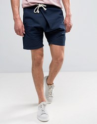 Asos Slim Shorts In Navy With Asymmetric Front And Tie Rope Waist Detail
