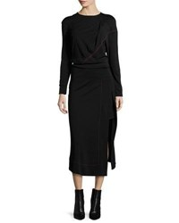 Atlein Long Sleeve Midi Dress W Contrast Stitching Black Red
