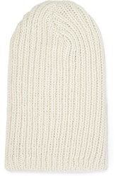 The Elder Statesman Ribbed Alpaca Beanie Cream