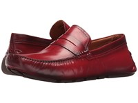 Massimo Matteo Burnished Penny Driver Red Men's Slip On Dress Shoes