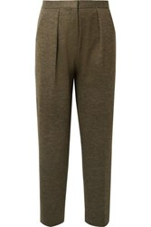 By Malene Birger Pillio Cropped Woven Tapered Pants Army Green