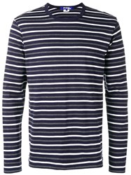 Junya Watanabe Man Striped Jumper Blue