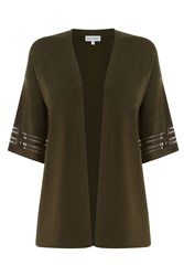 Warehouse Pointelle Fluted Cuff Cardi Khaki
