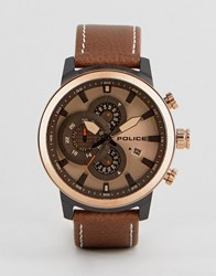 Police Brown Watch With Brown Dial