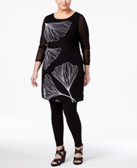 Alfani Plus Size Printed Illusion Tunic Only At Macy's Black Delicate Gingko