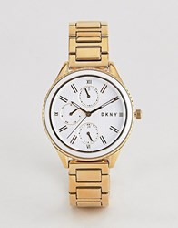 Dkny Ny2660 Ladies Gold Chronograph Watch With White Dial