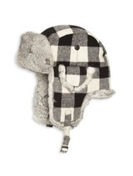 Saks Fifth Avenue Rabbit Fur Aviator Hat White Grey