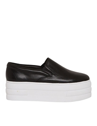 Pixie Market Black Flatform Slip On Sneakers
