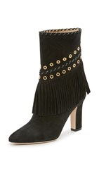 Tamara Mellon Texas Summer Suede Fringe Booties Black