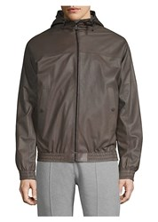 Bally Reversible Hooded Leather Jacket Brown