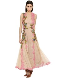 Alberta Ferretti Embroidered Silk Tulle Dress W Lace