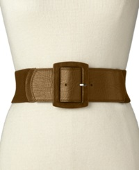 Calvin Klein Leather Tab Stretch Belt Brown