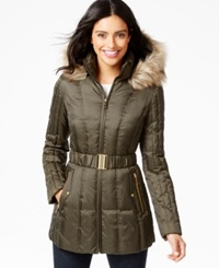 Inc International Concepts Faux Fur Trim Belted Puffer Coat Only At Macy's Military