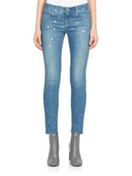 Stella Mccartney Metallic Polka Dot Skinny Ankle Grazer Jeans Antique Gold