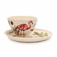 Gien French Porcelain Coffee Bowl And Plate