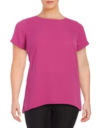 Vince Camuto Plus Crepe Hi Lo Top Purple