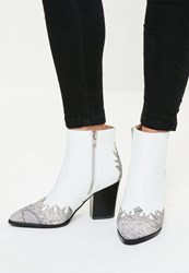 Missguided White Snake Toe Western Ankle Boots