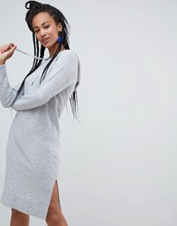 Esprit Knitted Dress With Hood In Grey