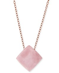 Michael Kors Gold Tone Mint Green Stone Pendant Necklace Rose Gold