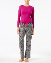 Calvin Klein Knit Top And Flannel Pajama Pants Gift Set Raspberry Geometric