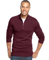 John Ashford Solid Quarter Zip Sweater Cherry Wine
