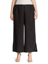 Caroline Rose Wide Leg Linen Ankle Pant Black