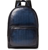 Berluti Time Off Vitello Pythagora Patterned Leather Backpack Navy