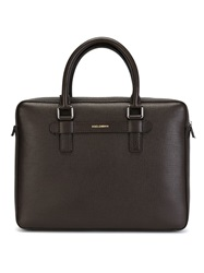 Dolce And Gabbana Top Zip Briefcase Brown