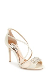 Badgley Mischka Women's 'Gala' Crystal Embellished Evening Sandal Ivory Satin