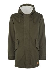 Jack And Jones Men's Cotton Zip Through Parka Jacket Khaki