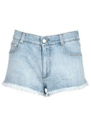 Stella Mccartney Light Blue Frayed Star Denim Shorts