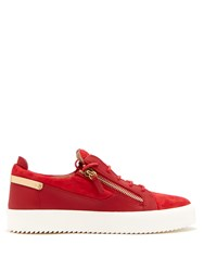 Giuseppe Zanotti Frankie Leather And Suede Low Top Trainers Red