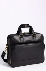 Men's Bosca Top Zip Leather Briefcase Black