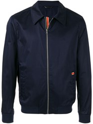 Gieves And Hawkes Zipped Bomber Jacket Blue