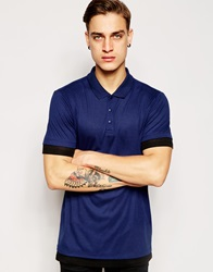 Asos Longline Polo Shirt In Lightweight Rib With Extended Hem Navy