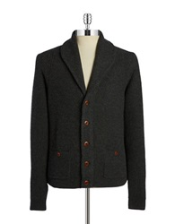 Brooks Brothers Red Fleece Shawl Collar Wool Cardigan Grey