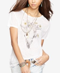 Denim And Supply Ralph Lauren Draped Graphic Jersey Tee White Steer Sketch