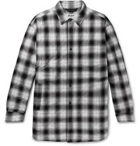 Acne Studios Quilted Checked Herringbone Cotton Blend Overshirt Black