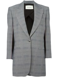 Cedric Charlier Checked Blazer Grey