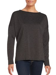 Betsey Johnson Long Sleeve Split Hem Top Frost Grey