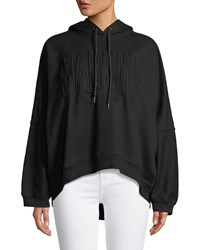 7 For All Mankind High Low Dolman Embroidered Hoodie Black