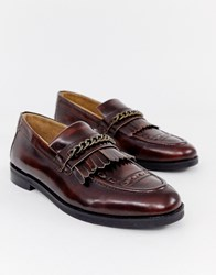House Of Hounds Archer Chain Loafers In Burgundy Red