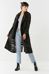 Urban Outfitters Uo Striped Mesh Trench Coat Black