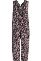 Mother Of Pearl Emeline Floral Print Cropped Silk Jumpsuit Midnight Blue