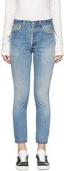 Re Done Blue High Rise Ankle Crop Jeans
