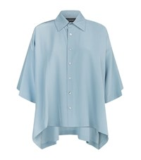 Eskandar Short Sleeve Silk Shirt Female Blue