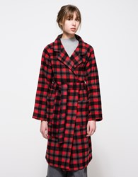 Ganni State St. Check Coat Pompeian Red