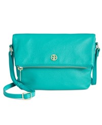 Giani Bernini Pebble Leather Zipper Mini Flap Crossbody Only At Macy's Deep Turquoise